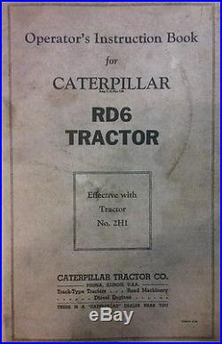 Caterpillar Diesel RD6 Tractor Operator, Parts, & Service Manual (3 BOOKS) 282pg